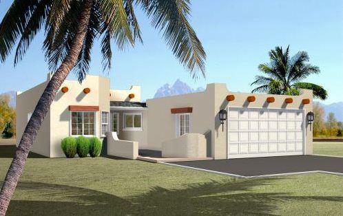 Plano de casa de tres dormitorios estilo mexicano for Fachadas modernas una planta