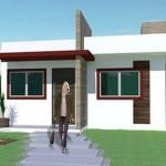 Plano de casa de 2 dormitorios sin garaje
