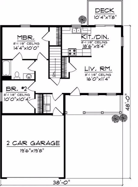 Plano de casa de 2 dormitorios de 90 m2