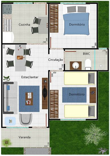 Plano de casa de 2 dormitorios sin garaje for Planos casas pequenas modernas