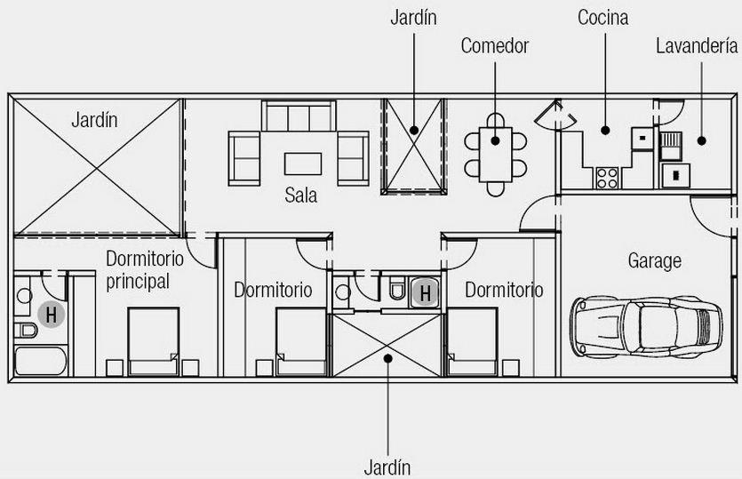 Plano de casa de 3 dormitorios en 1 planta for Plano casa minimalista 3 dormitorios