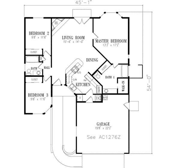 Plano de casa de tres dormitorios estilo mexicano