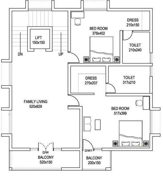 Plano de casa grande de 2 pisos y 3 dormitorios