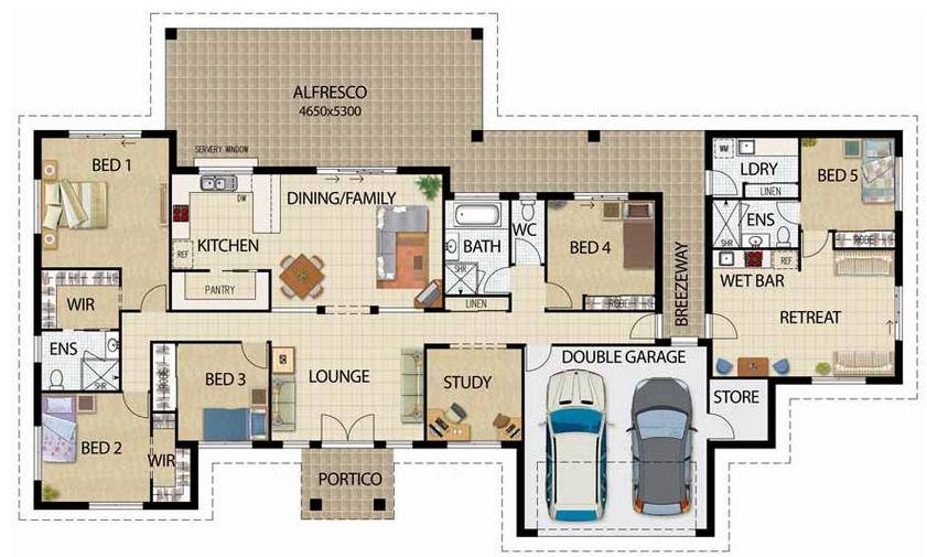 plano de casa grande de dormitorios y garage doble en un piso