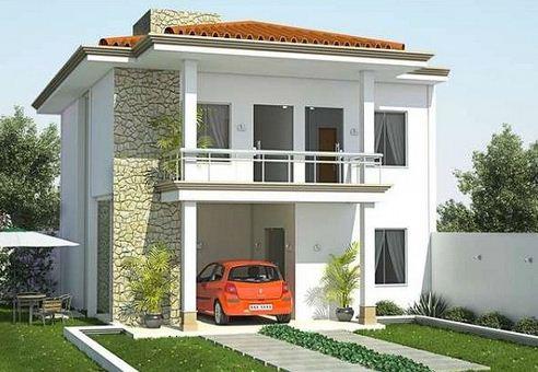 Plano de casa moderna de 2 pisos y 125 m2 for Fachada de casas modernas con balcon