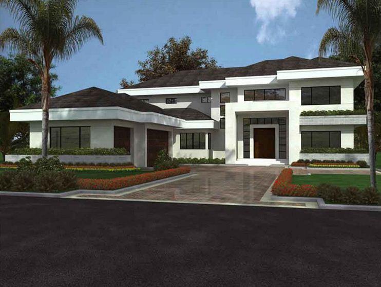 Plano de casa moderna grande for Casa moderna flooring