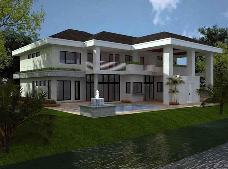 Plano de casa moderna grande for Planos de viviendas modernas