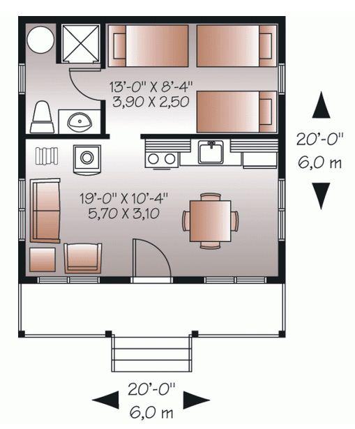 Plano de cabaña pequeña de 36m2