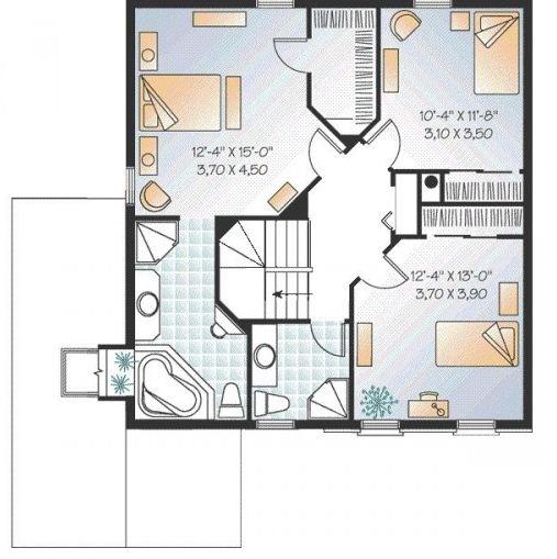 Plano de casa de dos pisos y 3 habitaciones
