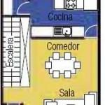 Plano de casa de tres pisos para terrenos angostos