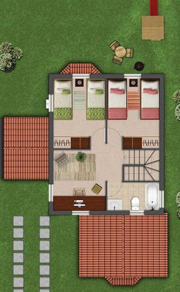 Plano de casa moderna de 120 m2