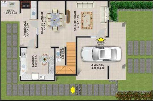 plano de casa moderna de pisos y m