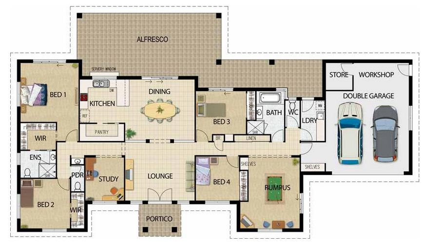 Plano de casa moderna de 250m2 en una planta for Viviendas modernas de una planta