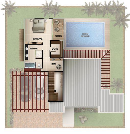 Baños Con Jacuzzi Medidas:Plano de casa moderna de dos pisos con piscina