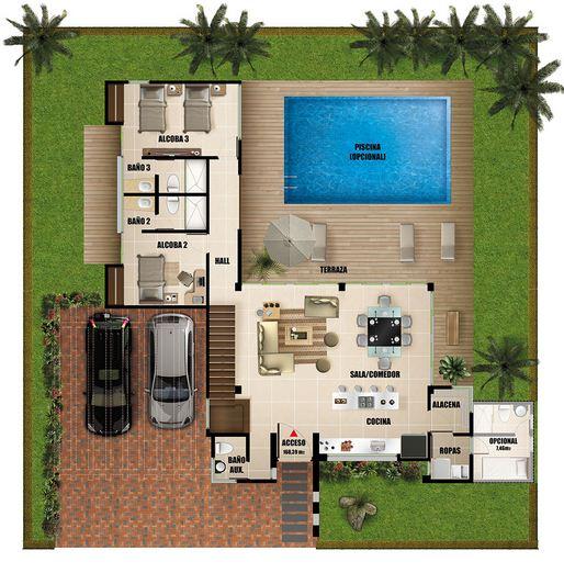 Plano de casa moderna de dos pisos con piscina for Planos de casas medianas