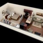 Plano de departamento de 45 m2