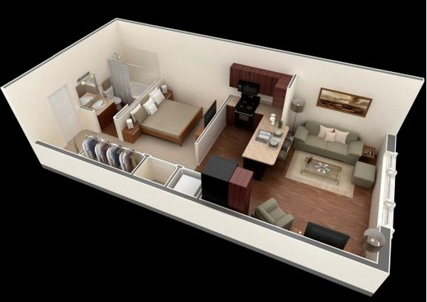 Plano de departamento de 45 m2 for Appartement 45m2 design