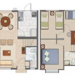 Plano de duplex pequeño de 3 dormitorios