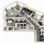 Plano de piso moderno de 2 habitaciones