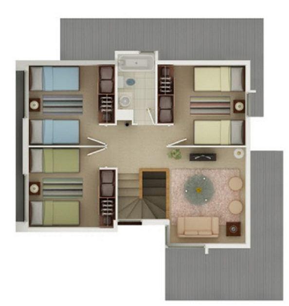Planos de casas 5 dormitorios for Ver modelos de dormitorios
