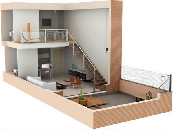 Planos de lofts modernos en 3d for Plano oficina pequena