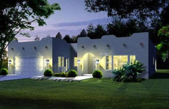 Plano de casa de una planta y 4 dormitorios for Fachadas de casas de una sola planta