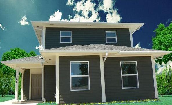 Fachadas de casas de madera de tres habitaciones
