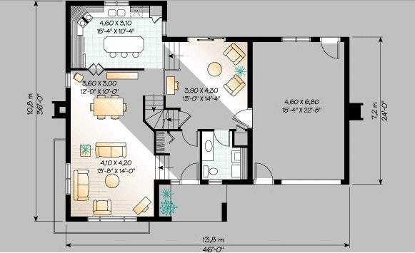 Plano de casa con jardín delantero