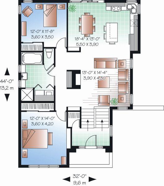 Plano de casa de 125 m y dos dormitorios
