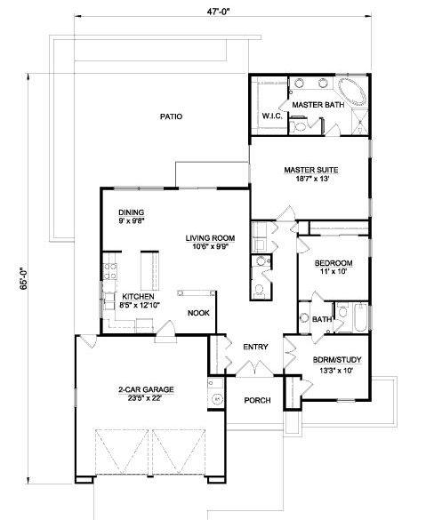 Plano de casa de campo de 3 habitaciones