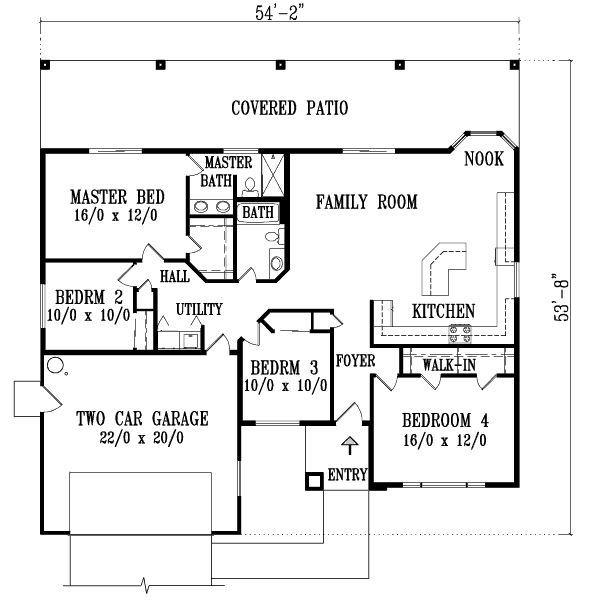 Plano de casa de una planta y 4 dormitorios - Planos casa una planta ...