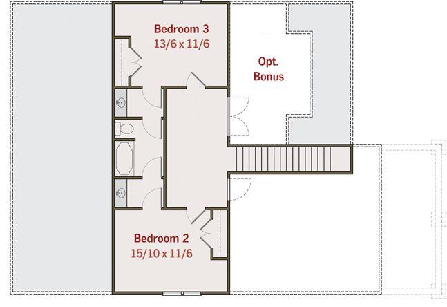 Plano de casa familiar de 3 dormitorios y 2 pisos