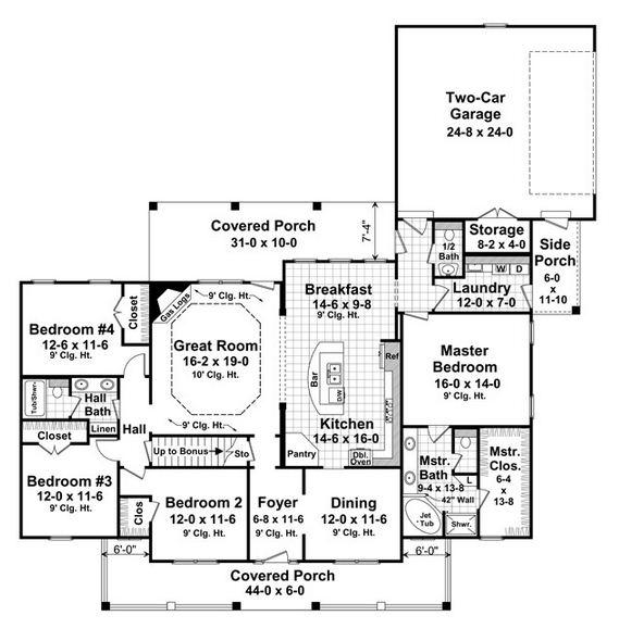 Plano de casa norteamericana tradicional