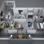 Plano de departamento moderno con balcón frontal