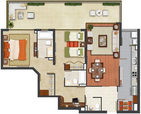 Ba os modernos para departamentos for Diseno de casa de 120 metros cuadrados