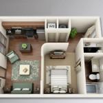 Plano de departamento pequeño y moderno