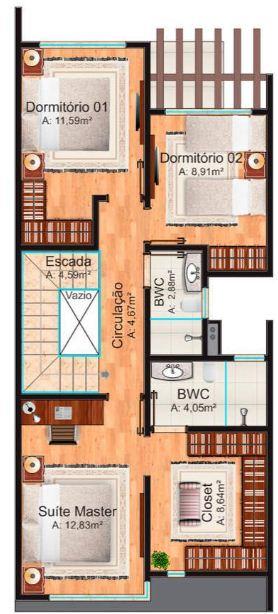 Plano de duplex para terreno angosto de 3 dormitorios