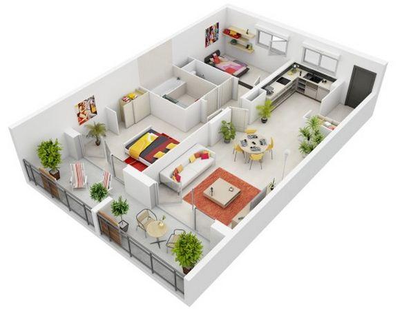 Planos de departamentos modernos en 3D