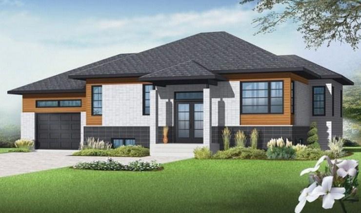 Plano de casa confortable de 2 dormitorios for Casas techos cuatro aguas