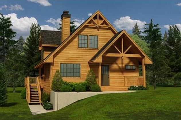 Fachada de casa de madera de 2 pisos