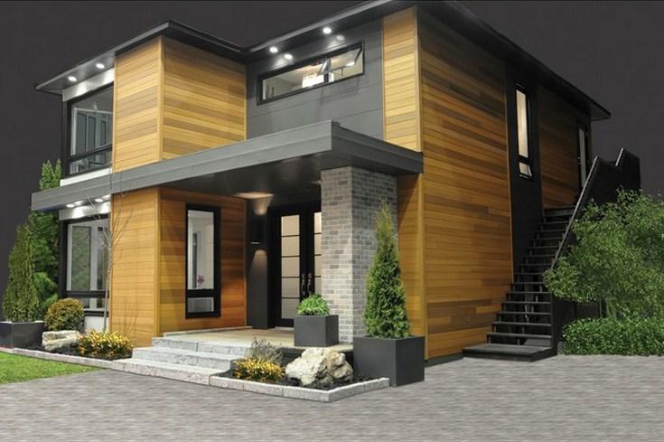 Fachada de casa moderna de 3 dormitorios sin cochera
