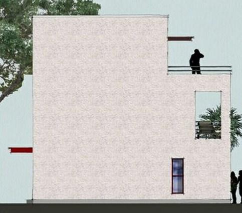 Lateral de casa moderna de 3 pisos