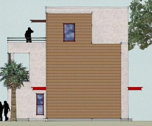 Lateral de casa moderna de tres pisos