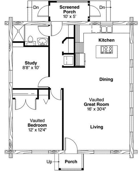 Plano de cabaña con troncos de madera de 1 dormitorio