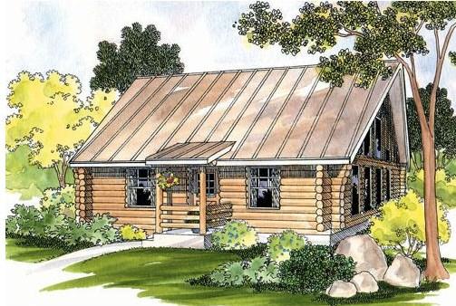 Plano de cabaña con troncos de madera