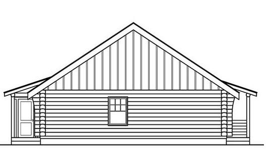 Plano de cabaña de madera de 1 piso