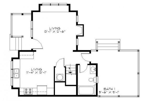 Plano de casa de 2 dormitorios y 2 pisos en 100m2