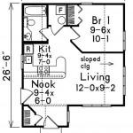 Plano de casa pequeña de 50 m2 y un dormitorio