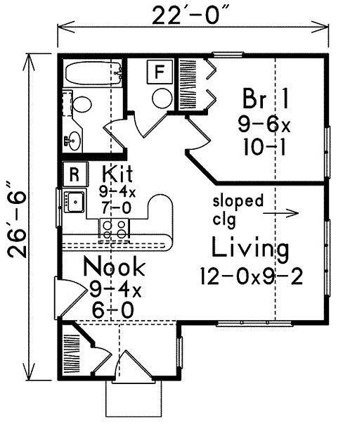 Plano de casa de 50m2 con un dormitorio