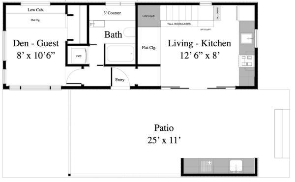 Plano de casa de madera con galería
